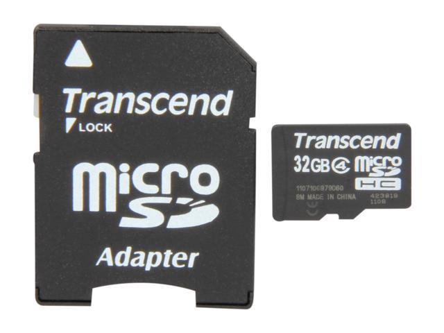 Transcend 32GB microSDHC Flash Card with Adapter Model TS32GUSDHC4