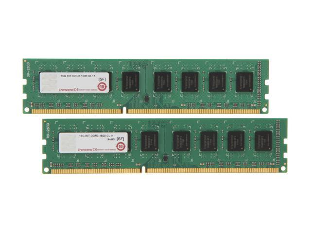 Transcend JetRam 16GB (2 x 8GB) 240-Pin DDR3 SDRAM DDR3 1600 (PC3 12800) Desktop Memory Model JM1600KLH-16GK