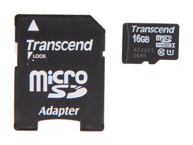 Transcend UHS-I 16GB microSDHC Flash Card with Adapter Model TS16GUSDU1