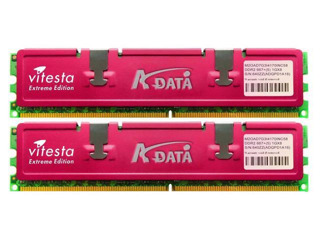 ADATA Vitesta 1GB (2 x 512MB) 240-Pin DDR2 SDRAM DDR2 667 (PC2 5300) Dual Channel Kit Desktop Memory Model ELJPE1908K