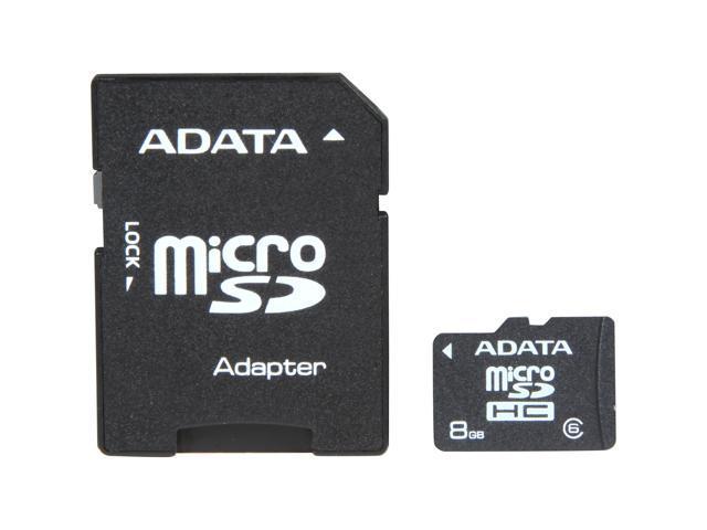 ADATA 8GB microSDHC Flash Card with SD adaptor Model AUSDH8GCL6-RA1