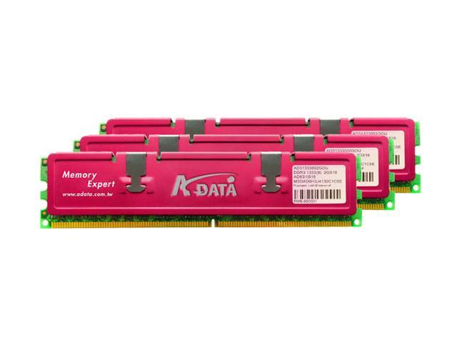 ADATA 6GB (3 x 2GB) 240-Pin DDR3 SDRAM DDR3 1333 (PC3 10666) Triple Channel Kit Desktop Memory Model HY63I1B16T