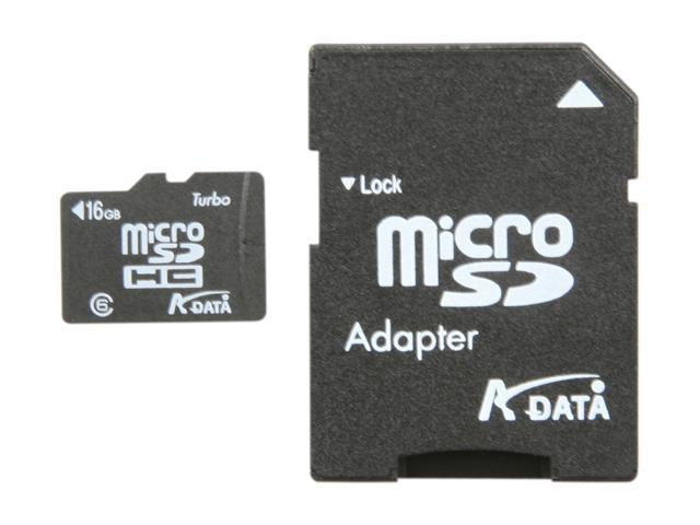 ADATA 16GB Class 6 Micro SDHC Flash Card with SD adaptor Model AUSDH16GCL6-RA1