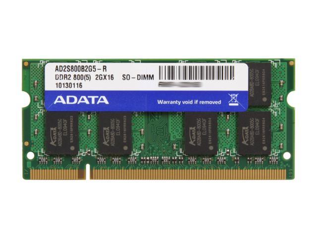 ADATA 2GB 200-Pin DDR2 SO-DIMM DDR2 800 (PC2 6400) Laptop Memory Model AD2S800B2G5-R