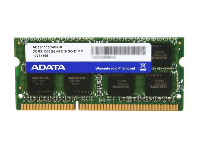 ADATA Supreme Series 4GB 204-Pin DDR3 SO-DIMM DDR3 1333 (PC3 10666) Laptop Memory Model AD3S1333C4G9-R