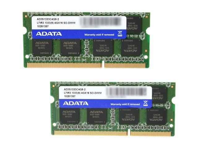 ADATA Supreme Series 8GB (2 x 4GB) 204-Pin DDR3 SO-DIMM DDR3 1333 (PC3 10600) Laptop Memory Model AD3S1333C4G9-2