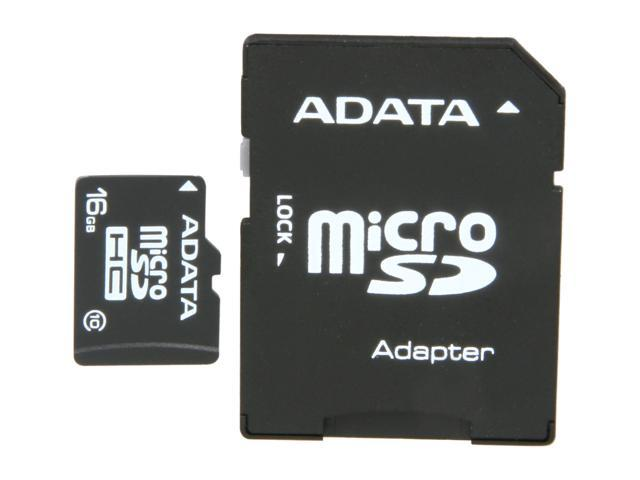 ADATA 16GB Class 10 Micro SDHC Flash Card with SD adaptor Model AUSDH16GCL10-RA1