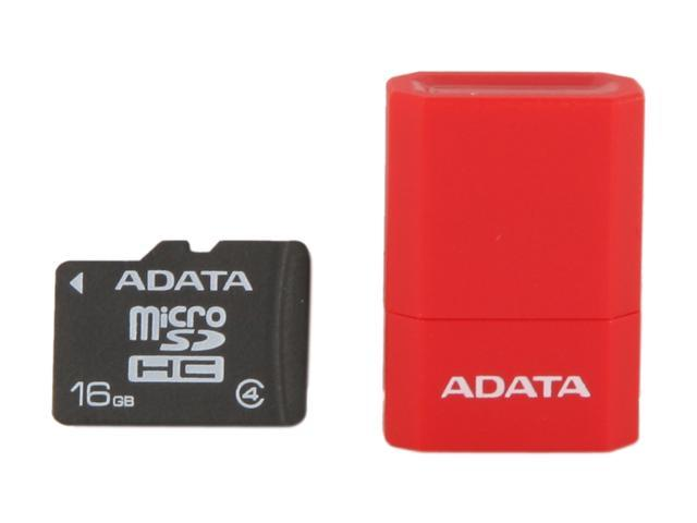 ADATA 16GB Class 4 Micro SDHC Flash Card with V3 USB Reader (Red) Model AUSDH16GCL4-RM3RDRD