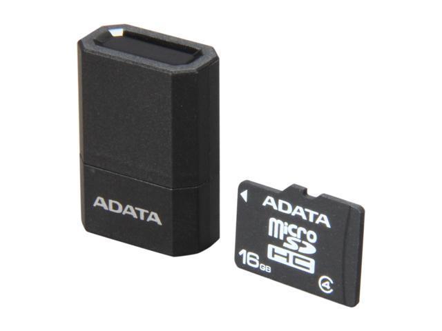 ADATA 16GB microSDHC Flash Card with V3 USB Reader (Black/Blue) Model AUSDH16GCL4-RM3BKBL