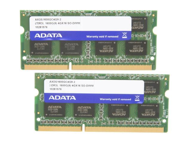 ADATA XPG Gaming Series 8GB (2 x 4GB) 204-Pin DDR3 SO-DIMM DDR3L 1600 (PC3L 12800) Laptop Memory Model AXDS1600GC4G9-2