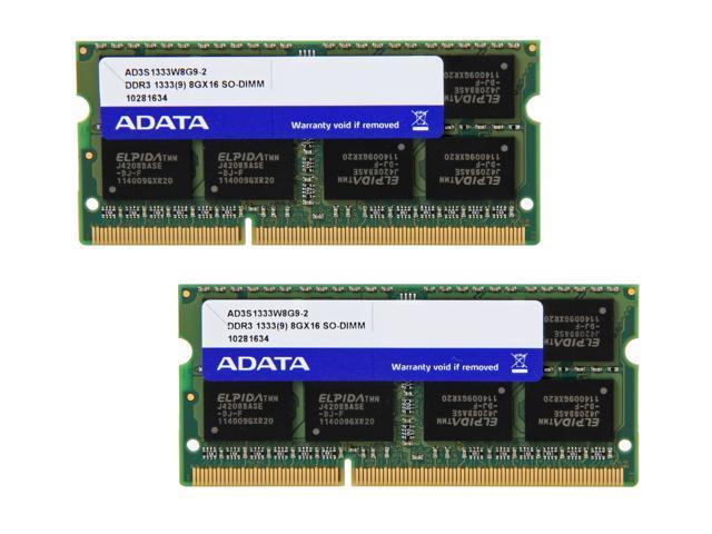 ADATA Premier Series 16GB (2 x 8G) 204-Pin DDR3 SO-DIMM DDR3 1333 (PC3 10666) Laptop Memory Model AD3S1333W8G9-2