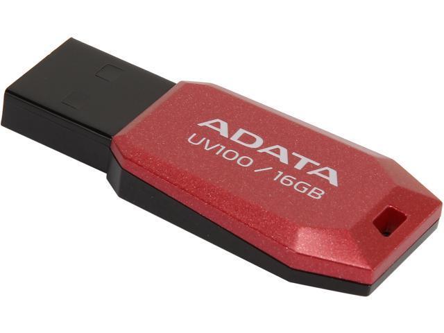 ADATA DashDrive UV100 16GB USB 2.0 Flash Drive (Red) Model AUV100-16G-RRD