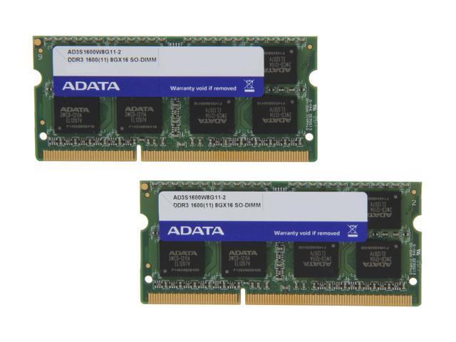 ADATA Premier Series 16GB (2 x 8G) 204-Pin DDR3 SO-DIMM DDR3 1600 (PC3 12800) Laptop Memory Model AD3S1600W8G11-2