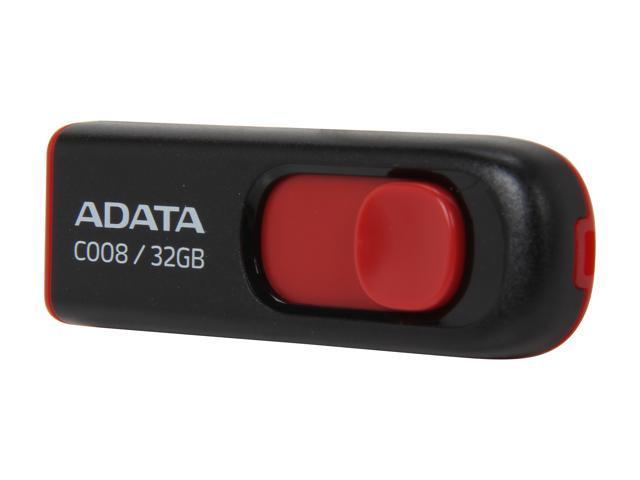 ADATA C008 Capless Sliding 32GB USB 2.0 Flash Drive Model AC008-32G-RKD