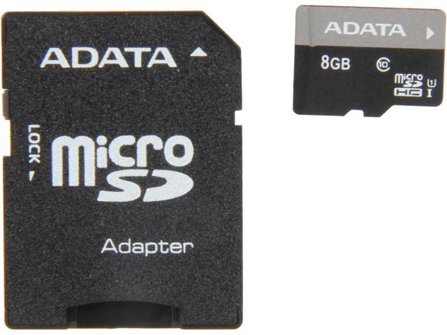 ADATA Premier 8GB microSDHC Class 10 Flash Card with Adapter Model AUSDH8GUICL10-RA1