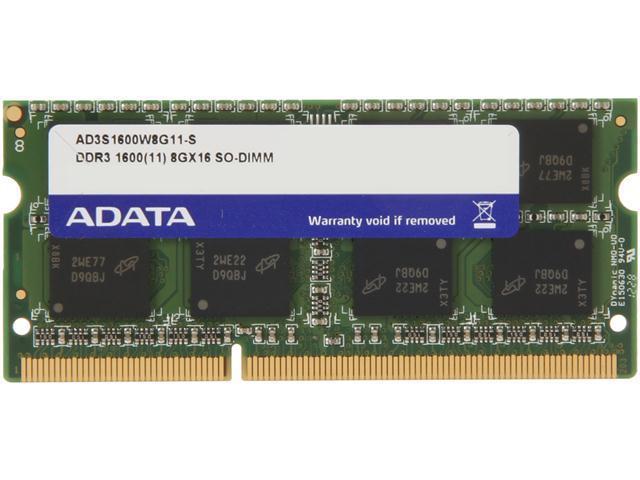 ADATA 8GB 204-Pin DDR3 SO-DIMM DDR3 1600 (PC3 12800) Laptop Memory Model AD3S1600W8G11-S
