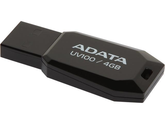 ADATA DashDrive UV100 4GB Slim Bevelled USB 2.0 Flash Drive Model AUV100-4G-RBK