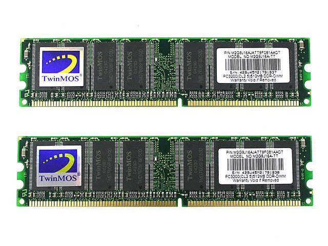 TwinMOS 1GB (2 x 512MB) 184-Pin DDR SDRAM DDR 400 (PC 3200) Dual Channel Kit Desktop Memory Model TMII400/1GB