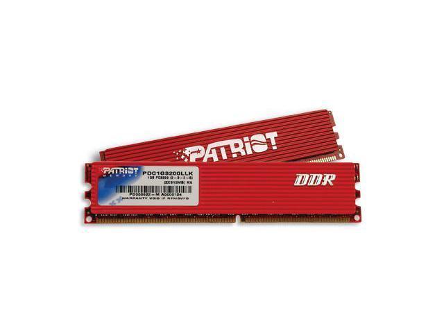 Patriot Extreme Performance 1GB (2 x 512MB) 184-Pin DDR SDRAM DDR 400 (PC 3200) Dual Channel Kit Desktop Memory Model PDC1G3200LLK