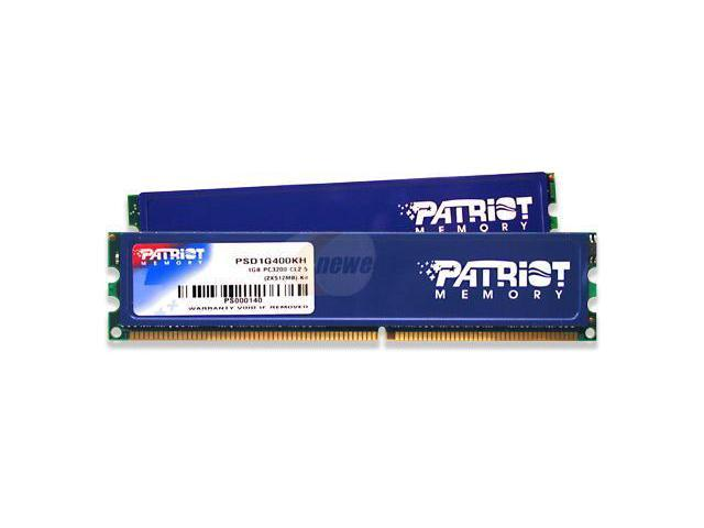 Patriot Signature Series 1GB (2 x 512MB) 184-Pin DDR SDRAM DDR 400 (PC 3200) Dual Channel Kit System Memory Model PSD1G400KH
