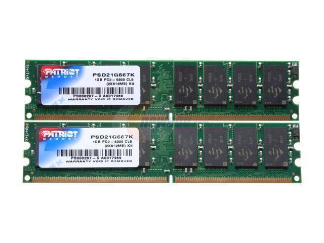 Patriot Signature 1GB (2 x 512MB) 240-Pin DDR2 SDRAM DDR2 667 (PC2 5300) Dual Channel Kit Desktop Memory Model PSD21G667K