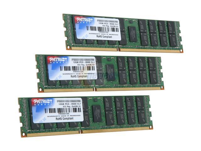 Patriot Signature 12GB (3 x 4GB) 240-Pin DDR3 SDRAM ECC Registered DDR3 1066 (PC3 8500) Server Memory Model PSD312G1066ERK