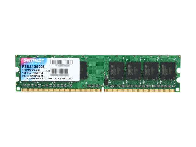Patriot Signature 4GB 240-Pin DDR2 SDRAM DDR2 800 (PC2 6400) Desktop Memory Model PSD24G8002