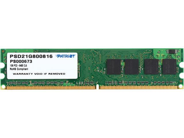 Patriot Signature 1GB 240-Pin DDR2 SDRAM DDR2 800 (PC2 6400) Desktop Memory Model PSD21G800816