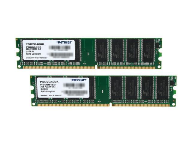 Patriot Signature 2GB (2 x 1GB) 184-Pin DDR SDRAM DDR 400 (PC 3200) Desktop Memory Model PSD2G400K