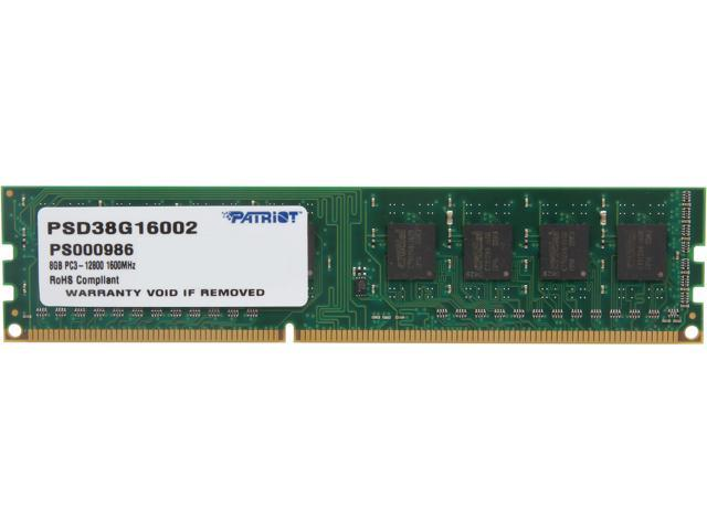 Patriot Signature 8GB 240-Pin DDR3 SDRAM DDR3 1600 (PC3 12800) Desktop Memory Model PSD38G16002