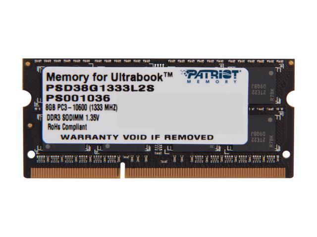 Patriot Signature 8GB 204-Pin DDR3 SO-DIMM DDR3L 1333 (PC3L 10600) Laptop Memory for Ultrabook Model PSD38G1333L2S