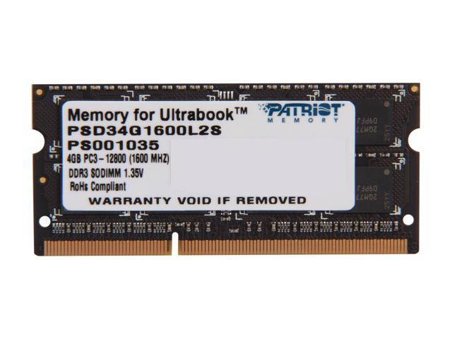 Patriot Signature 4GB 204-Pin DDR3 SO-DIMM DDR3L 1600 (PC3L 12800) Laptop Memory for Ultrabook Model PSD34G1600L2S