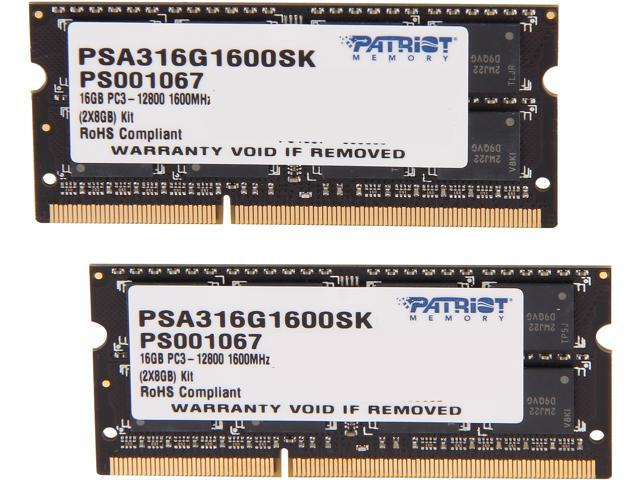 Patriot Memory Signature Apple Line 16GB (2 x 8GB) 204-Pin DDR3 SO-DIMM DDR3 1600 (PC3 12800) Memory for Apple Model PSA316G1600SK