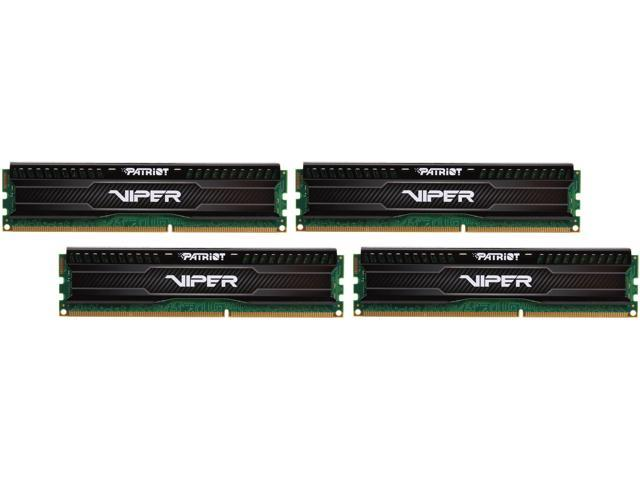 Patriot Viper 3 Low Profile Black 32GB (4 x 8GB) 240-Pin DDR3 SDRAM DDR3 1600 (PC3 12800) Desktop Memory Model PVL332G160C9QK