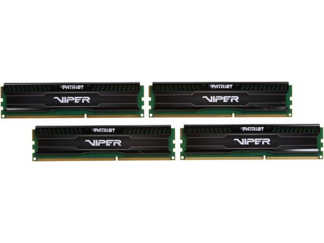 Patriot Viper 3 Low Profile Black 32GB (4 x 8GB) 240-Pin DDR3 SDRAM DDR3 1866 (PC3 15000) Desktop Memory Model PVL332G186C0QK