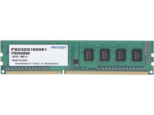 Patriot Signature 2GB 240-Pin DDR3 SDRAM DDR3 1600 (PC3 12800) Desktop Memory Model PSD32G160081