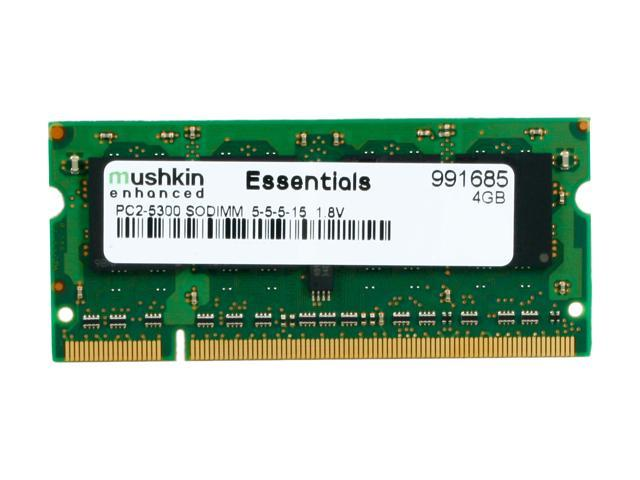 Mushkin Enhanced Essentials 4GB 200-Pin DDR2 SO-DIMM DDR2 667 (PC2 5300) Laptop Memory Model 991685