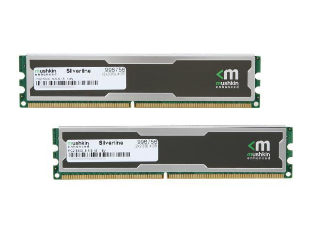 Mushkin Enhanced Silverline 4GB (2 x 2GB) 240-Pin DDR2 SDRAM DDR2 667 (PC2 5300) Desktop Memory Model 996756