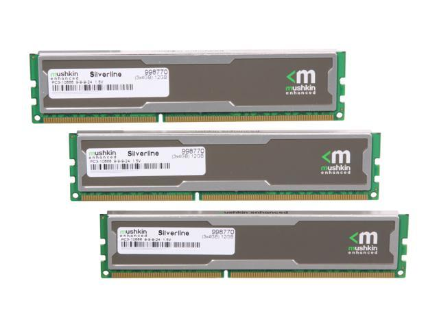 Mushkin Enhanced Silverline 12GB (3 x 4GB) 240-Pin DDR3 SDRAM DDR3 1333 (PC3 10666) Desktop Memory Model 998770