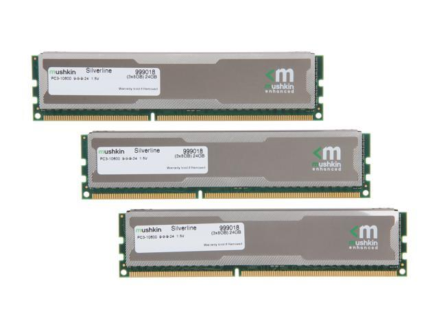 Mushkin Enhanced Silverline 24GB (3 x 8GB) 240-Pin DDR3 SDRAM DDR3 1333 (PC3 10600) Desktop Memory Model 999018