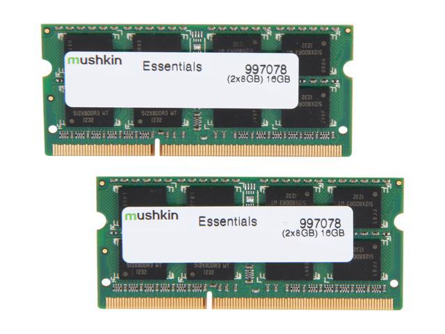 Mushkin Enhanced Essentials 16GB (2 x 8G) 204-Pin DDR3 SO-DIMM DDR3L 1333 (PC3L 10600) Laptop Memory Model 997078