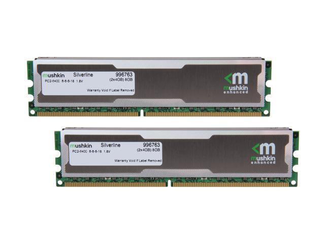 Mushkin Enhanced Silverline 8GB (2 x 4GB) 240-Pin DDR2 SDRAM DDR2 800 (PC2 6400) Desktop Memory Model 996763