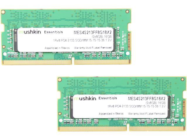 Mushkin Enhanced Essentials 16GB (2 x 8G) 260-Pin DDR4 SO-DIMM DDR4 2133 (PC4 17000) Notebook Memory Model MES4S213FF8G18X2