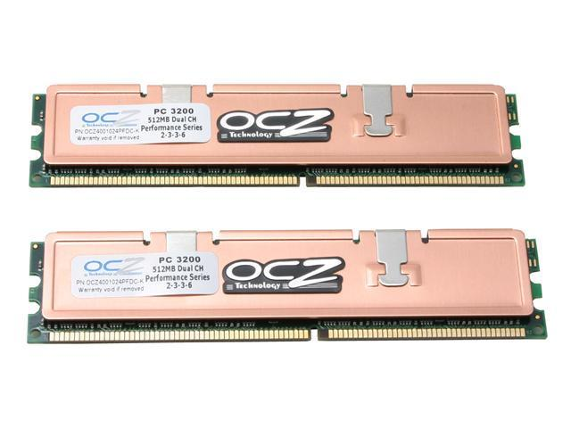 OCZ Performance Series 1GB (2 x 512MB) 184-Pin DDR SDRAM DDR 400 (PC 3200) Dual Channel Kit Desktop Memory Model OCZ4001024PFDC-K