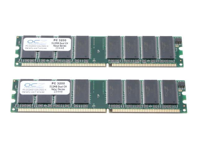 OCZ Value Series 1GB (2 x 512MB) 184-Pin DDR SDRAM DDR 400 (PC 3200) Dual Channel Kit Desktop Memory Model OCZ4001024V25DC-K