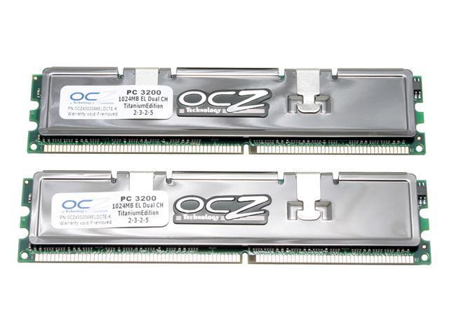 OCZ Titanium 2GB (2 x 1GB) 184-Pin DDR SDRAM DDR 400 (PC 3200) Dual Channel Kit Desktop Memory Model OCZ4002048ELDCTE-K