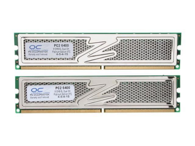 OCZ Platinum 1GB (2 x 512MB) 240-Pin DDR2 SDRAM DDR2 800 (PC2 6400) Dual Channel Kit Desktop Memory Model OCZ2P8001GK