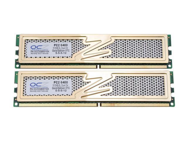 OCZ Gold GX XTC 1GB (2 x 512MB) 240-Pin DDR2 SDRAM DDR2 800 (PC2 6400) Dual Channel Kit Desktop Memory Model OCZ2G8001GK