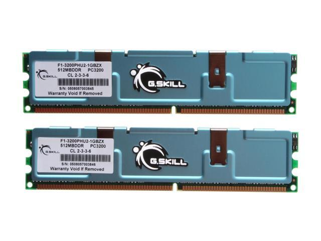 G.SKILL 1GB (2 x 512MB) 184-Pin DDR SDRAM DDR 400 (PC 3200) Dual Channel Kit Desktop Memory Model F1-3200PHU2-1GBZX