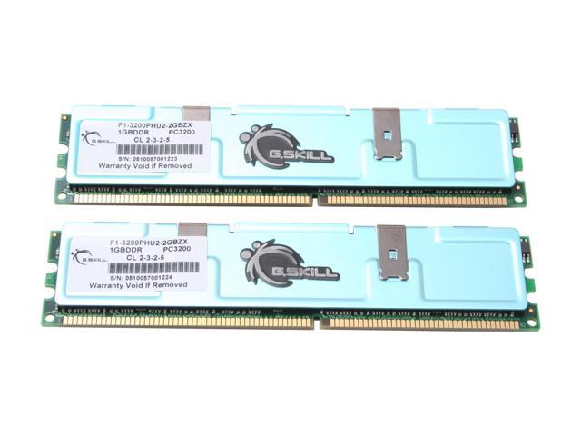 G.SKILL Value Series 2GB (2 x 1GB) 184-Pin DDR SDRAM DDR 400 (PC 3200) Dual Channel Kit Desktop Memory Model F1-3200PHU2-2GBZX